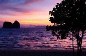 Sunset on Koh Ngai Island in Krabi, Thailand
