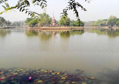 sukhothai - historical park - temple and lake