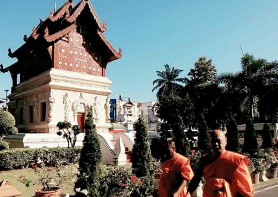 chiang mai, wat phra singh - monks in garden